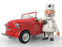 The 3D Doctor costs near car. Work of an emergency medical service of all is expeditious Stock Photography