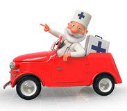 The 3D Doctor costs near car Royalty Free Stock Images