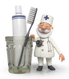3d doctor dentist with Toothbrush Stock Images