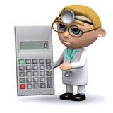 3d Doctor does some sums. 3d render of a doctor with a calculator Stock Image