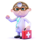 3d Doctor with first aid kit Stock Photo
