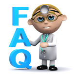 3d Doctor has a FAQ. 3d render of a doctor next to the acronym FAQ Stock Photos