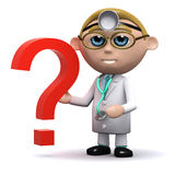 3d Doctor has a question mark Royalty Free Stock Photography