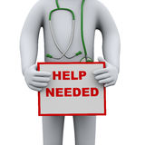 3d doctor holding help needed sign board Royalty Free Stock Photo