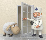 The 3D doctor in hospital with a lamb Royalty Free Stock Photos
