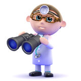3d Doctor looks through binoculars Stock Photos