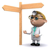 3d Doctor looks at the signpost Stock Photos