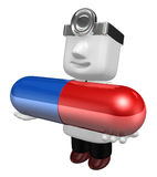 3d doctor man with medicine capsule. 3D Square Man Series. Stock Photography