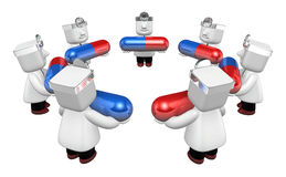 3d doctor man with medicine capsule. 3D Square Man Series. Stock Images