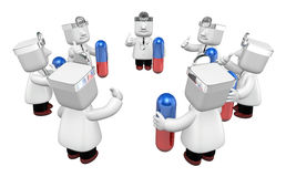 3d doctor men with medicine capsule. 3D Square Man Series. Stock Photo