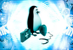 3d doctor penguin with medical kit, stethoscope and big heart illustration Stock Photos