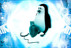 3d doctor penguin with medical kit, stethoscope and big heart illustration Royalty Free Stock Photos