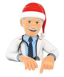 3D Doctor pointing down with a Santa Claus hat. Blank space. 3d medical people illustration. Doctor pointing down with a Santa Claus hat. Blank space. White Stock Photo