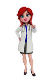 3d Doctor with pointing pose. Royalty Free Stock Images