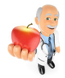 3D Doctor with a red apple. Healthy food concept. 3d medical people. Doctor with a red apple. Healthy food concept. White background Stock Images