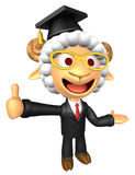 3D Doctor Sheep mascot the left hand guides and the right hand b Royalty Free Stock Image