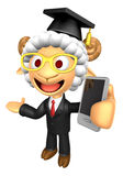3D Doctor Sheep Mascot the left hand guides and the right hand i Stock Image
