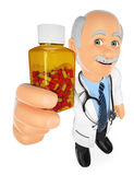 3D Doctor showing a pills bottle without label Stock Photo