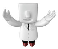 3d doctor standing with his open arms. 3D Square Man Series. Stock Image