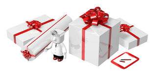 3d doctor standing toward with his checking presents . 3D Square Royalty Free Stock Photo