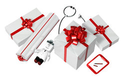 3d doctor standing toward with his checking presents. 3D Square Stock Photography