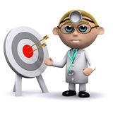 3d Doctor stands by a target Stock Image