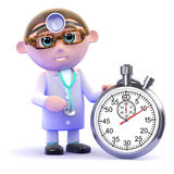 3d Doctor with a stopwatch Stock Image