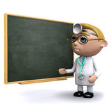 3d Doctor teaches at the chalkboard. 3d render of a doctor teaching at a blackboard Royalty Free Stock Photos