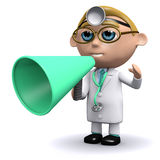 3d Doctor uses a megaphone Royalty Free Stock Photo