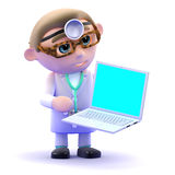 3d Doctor using a laptop Stock Photo