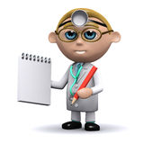 3d Doctor writes in his notepad Royalty Free Stock Images