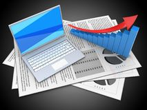3d documents. 3d illustration of documents and white laptop over black background with arrow graph Stock Photography