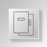 3D documents icon Business Concept. 3D Symbol Gray Square documents icon Business Concept Stock Photo