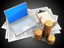 3d documents. 3d illustration of documents and computer over black background with note Stock Images