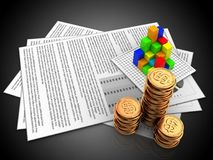 3d documents. 3d illustration of documents and graph over black background Stock Photography