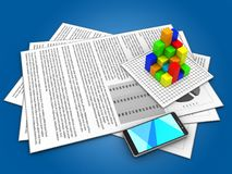 3d documents. 3d illustration of documents and graph over blue background Royalty Free Stock Photography