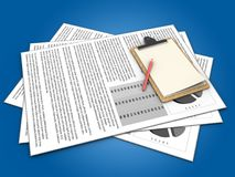 3d documents. 3d illustration of documents and note over blue background Stock Image