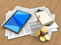 3d documents. 3d illustration of documents and tablet computer over wood background with note Stock Images