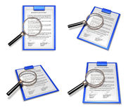3D Documents and the magnifying glass icon. 3D Icon Design Serie Royalty Free Stock Image