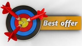3d doel met beste aanbiedingsteken Royalty-vrije Stock Afbeelding
