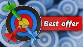 3d doel met beste aanbiedingsteken Royalty-vrije Stock Afbeeldingen