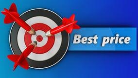 3d doel met beste prijsteken Stock Afbeelding