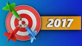 3d doel met het jaarteken van 2017 Stock Afbeelding