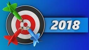 3d doel met het teken van 2018 Stock Foto's