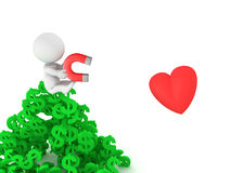 3D Does money attract love 3D image concept. A 3D character sitting on top of a pile of dollar symbols while holding a magnet with which he is trying to attract Royalty Free Stock Photo