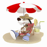 The 3D dog on a beach has a rest. Stock Photo