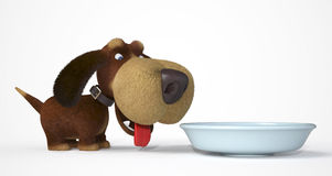 3d dog with a bowl Royalty Free Stock Photos