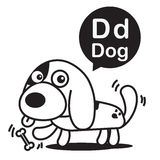 D Dog cartoon and alphabet for children to learning and coloring Stock Image