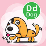 D Dog color cartoon and alphabet for children to learning vector royalty free illustration