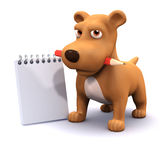 3d Dog with notepad` Royalty Free Stock Photo